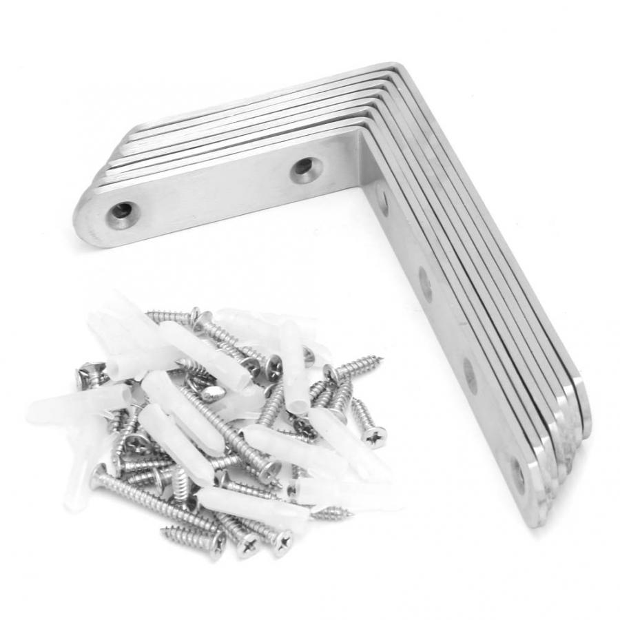 8pcs Stainless Steel L Shape Joint Right Angle Bracket Corner Brace Furniture Hardware box feet aluminium profile in Corner Brackets from Home Improvement