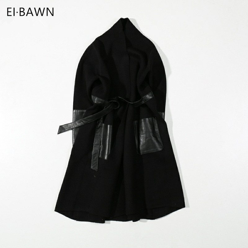 2018 Women Leather Trench Coat Spring Long Black Coat Lady Women Knitting Clothes Leather Belt Overcoat Plus Size Trench Coat