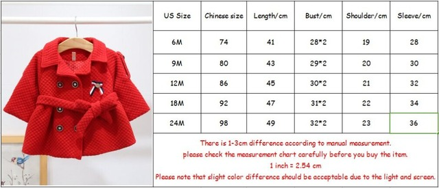 Winter Baby Girls Coat England Style Double-breasted Christmas Jacket Coat Kids Thick Warm Outerwear with belt
