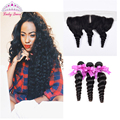 7A Brazilian Virgin Hair Lace Frontal Closure With 3 Bundles Loose Wave Full Frontal Lace Closure 13x4 With Bundles Human Hair