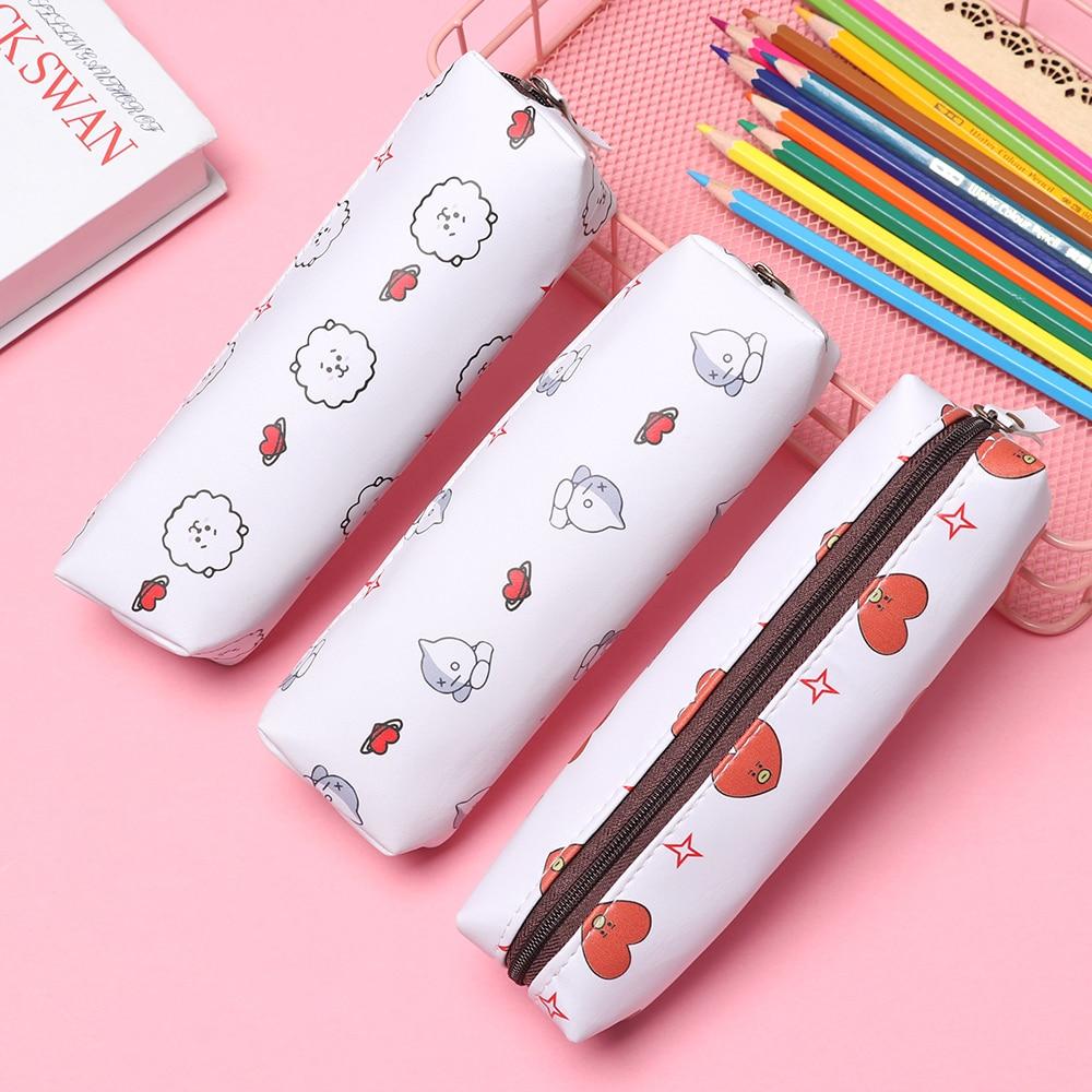 1pc Pencil Case Fashion Kawaii Canvas School Pencil Cases For Girls / Boys Kawaii Stationery Wallet Pencil Bag Box Fans Gifts Demand Exceeding Supply