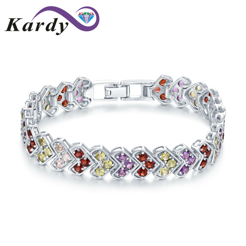 Fashion Natural Gemstone Garnet Amethyst Peridot Colourful Solid 14K White Gold Party Dating Daily Wear Bracelet Bangle hermes