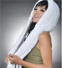 Новый Подлинная Трикотажные Рекс Кролика Hat Мода Ухо Муфты Ухо Теплее Шарф Шапка Зима Кролик Меховые Шарфы
