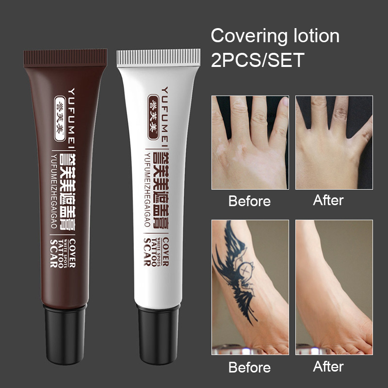 2 Pcs Skin Make-up Concealer Cream Tattoo Scar Birthmark Cover-up Cream Professional Tattoo Art Pro Tattoo Concealer Cover Cream