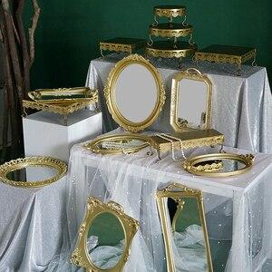 SWEETGO подставка для торта, Золотые Зеркальные подносы для кекса, 1 шт., витрина, инструменты для украшения дома, Свадебный десерт, конфетный ба...