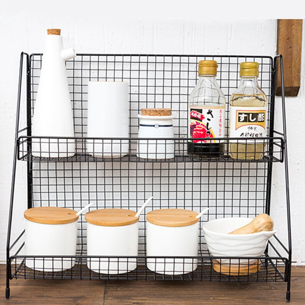 Iron Multi-functional Kitchen Double-layer Desktop Storage Rack Plate Knife Cosmetic Stationery Collecting Rack