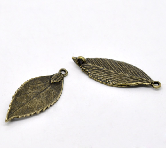 DoreenBeads Zinc Metal Alloy Connectors Findings Leaf Antique Bronze Color Plated 3.5cm(1 3/8
