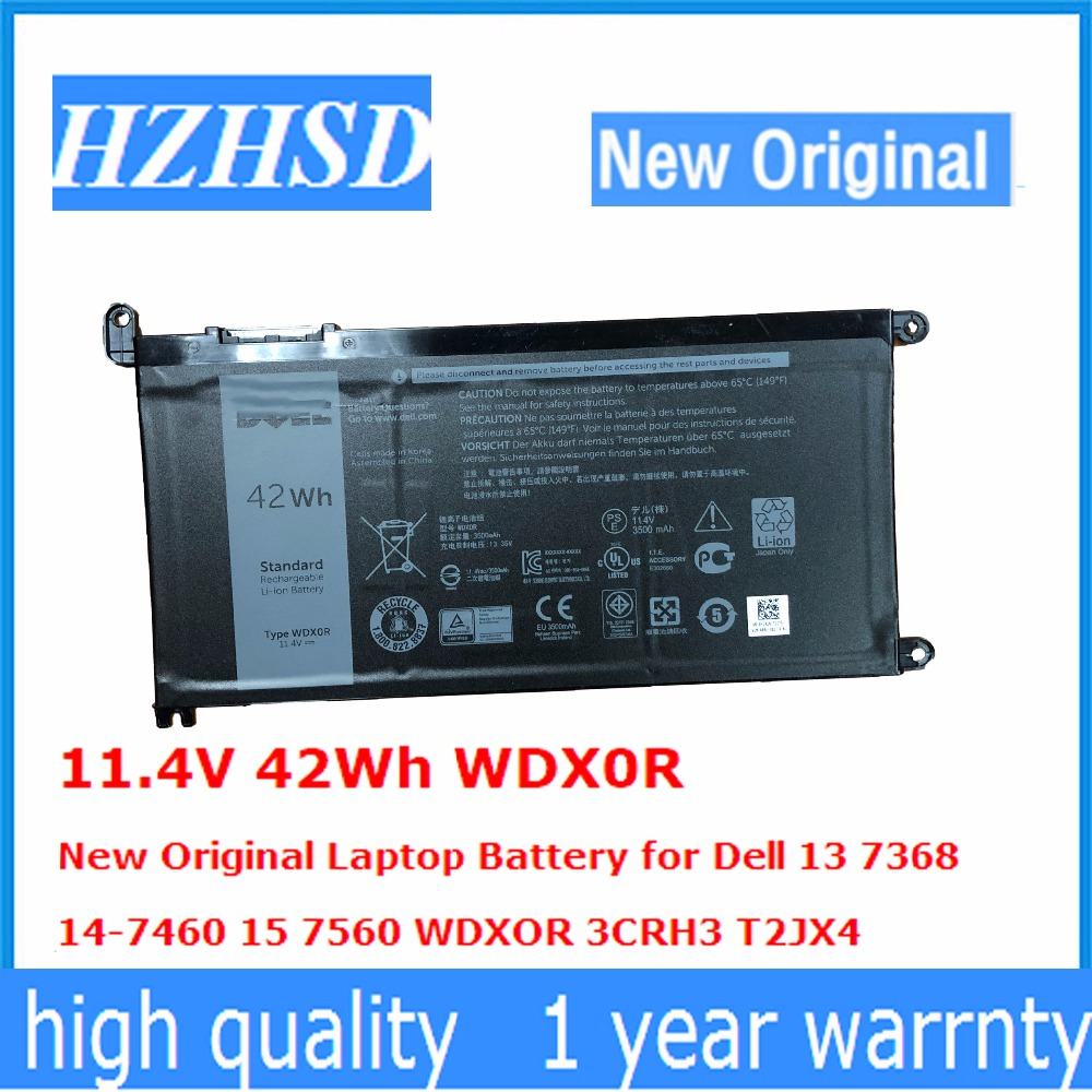 11.4V 42Wh WDX0R New Original Laptop Battery For Dell 13 7368  14-7460 15 7560 WDXOR 3CRH3 T2JX4