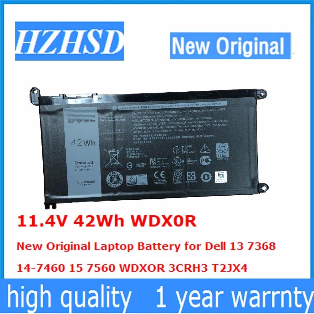 11.4V 42Wh WDX0R New Original Laptop Battery for Dell 13 7368 14-7460 15 7560 WDXOR 3CRH3 T2JX4 kingsener wdx0r laptop battery for dell inspiron 15 5568 5567 7560 13 7368 5378 5368 14 7460 17 5767 5765 for vostro 14 5468