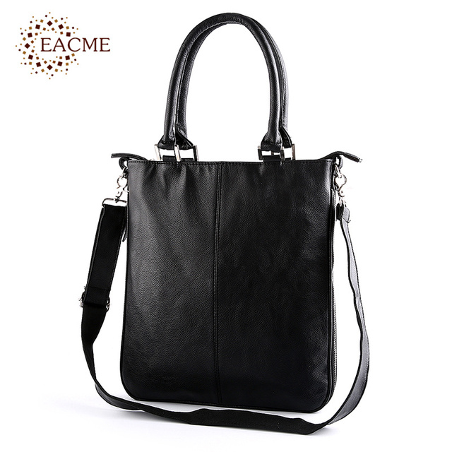 94667fa724 EACME Shoulder Tote Bag Men Quality PU Leather Totes Zipper Widen Causal  Shopping Thin Crossbody Bags