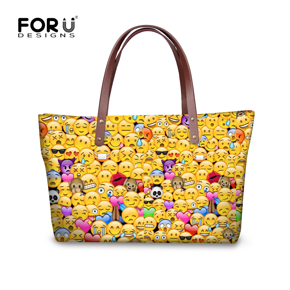 c1433dcec4c9 FORUDESIGNS Cute Women Handbags 3D Funny Smileys Emoji Face Shoulder Bag  for Girls Female Top handle Bags Feminina Handbag-in Shoulder Bags from  Luggage ...