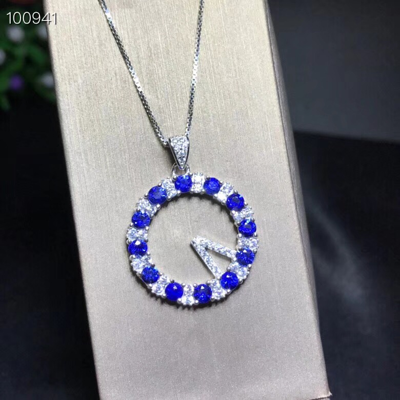 Uloveido Natural Blue Sapphire Stone Pendant Necklace for Girls 925 Sterling Silver Gemstone Necklace Pendant for