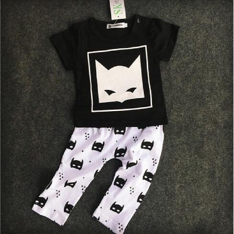 2016 Summer Brand Baby Boys Clothing Set Short Sleeve Black Baby Boy Clothes Set Children Letter T Shirt Pant 2pcs Set