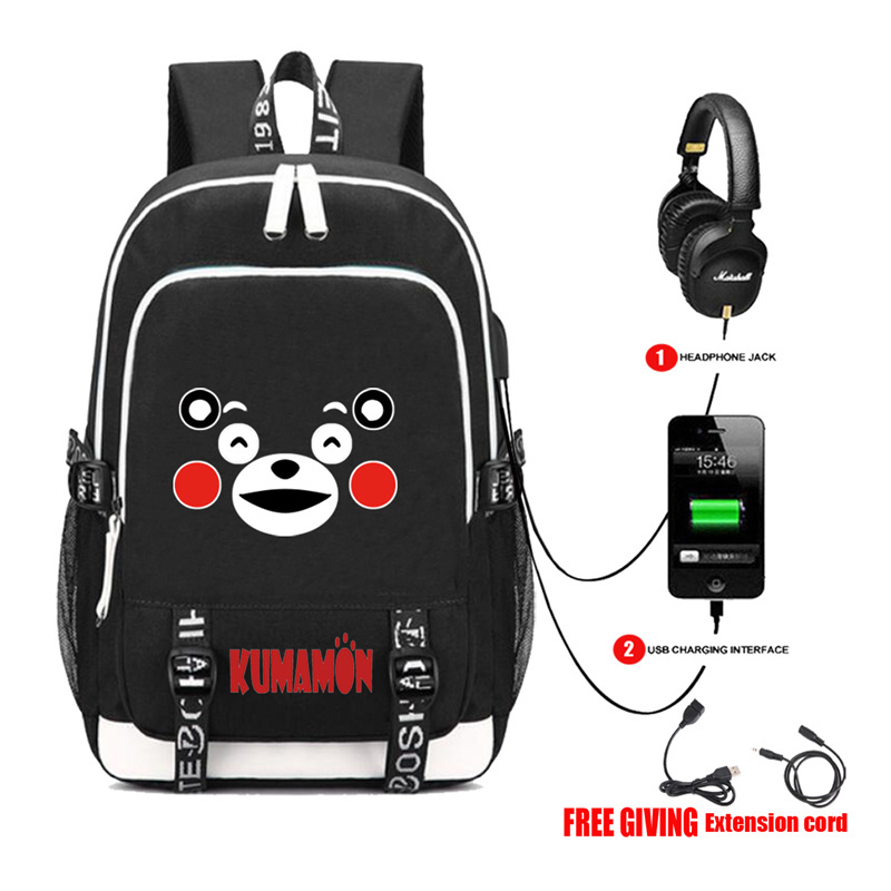 multifunction USB charging Cartoon anime Kumamon Backpack Cosplay Men women's Student School Bags travel Shoulder Laptop Bag zelda laptop backpack bags cosplay link hyrule anime casual backpack teenagers men women s student school bags travel bag