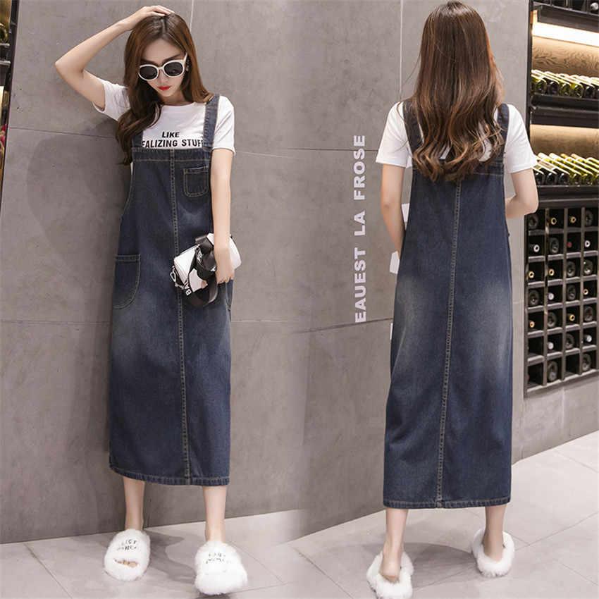 2019 летнее джинсовое платье на бретельках для женщин, сарафан без рукавов, длинные платья больших размеров для женщин s, корейский уличный халат Femme