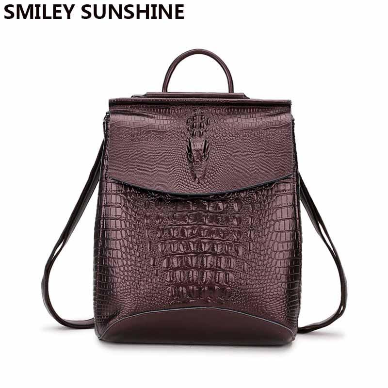 Female Backpack Genuine Leather Women Backpacks 2018 School Bag for Teenage Girls Multifunctional Shoulder Bag Leather Back Pack