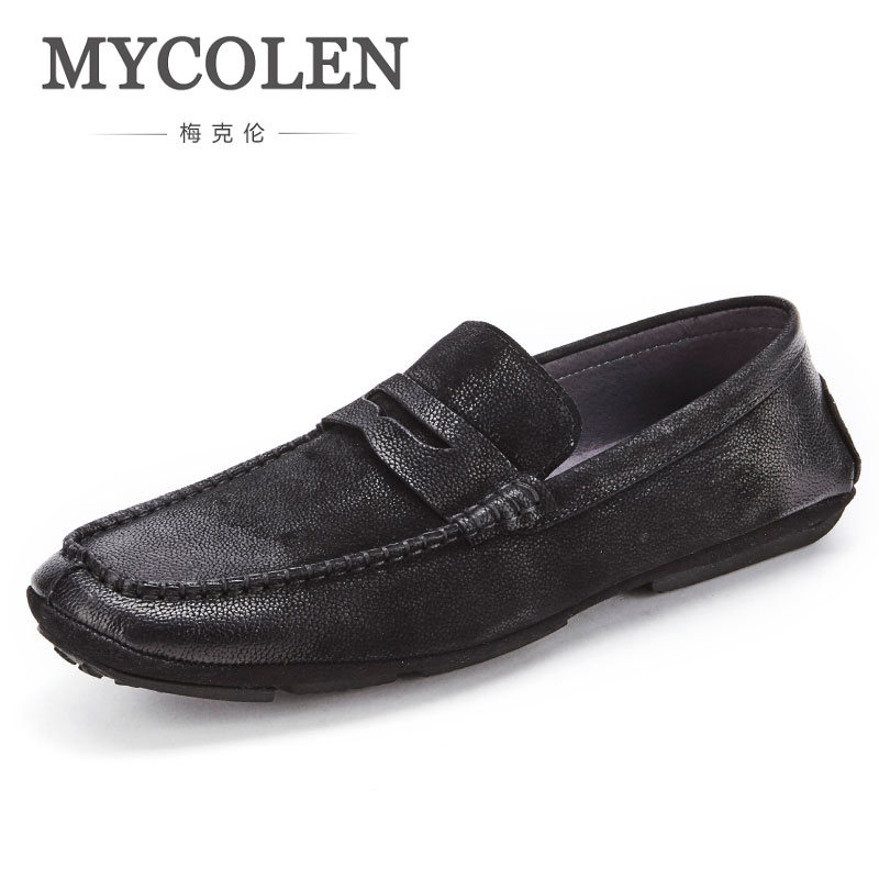 MYCOLEN Men Shoes Men New Fashion Casual Shoes New 2018 Breathable Male Footwear Spring Autumn Loafers Mens Loafers Leather mycolen brand new fashion autumn spring men driving shoes loafers leather boat shoes breathable male casual flats loafers