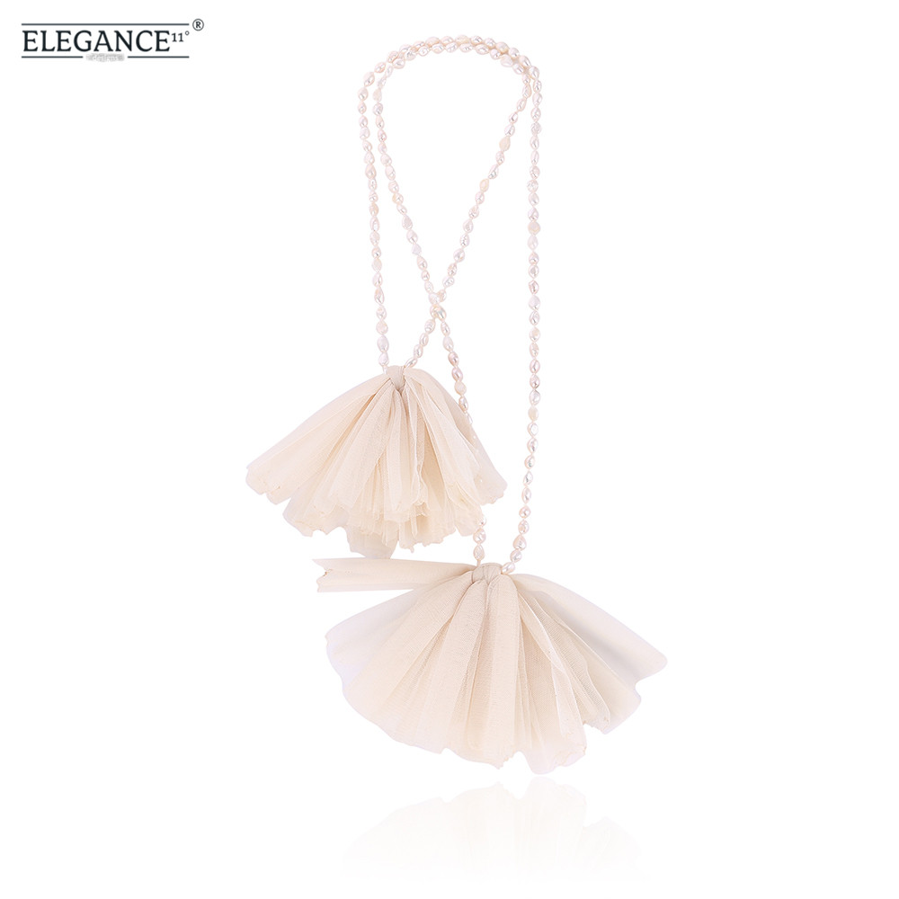 Elegance Trendy Freshwater Pearls Necklace Handmade Yarn Pendant Necklace For Women Luxury Necklaces & Pendants Best Gift