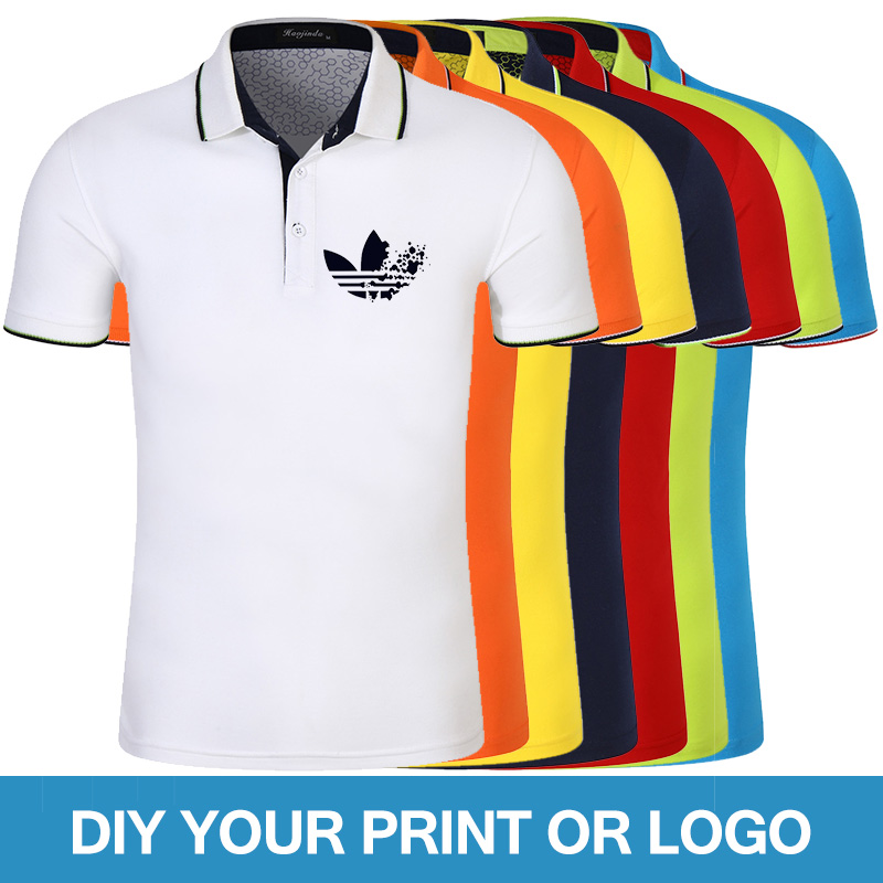 High Quality Summer Men Short Sleeve   Polo   Shirts Lapel   Polos   Custom Printing Photo Text Shirts Tops Male Fashion Streatwear