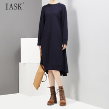 [IASK] 2017 new autumn solid color round neck long sleeve black back split joint irregular loose dress women fashion tide JC734