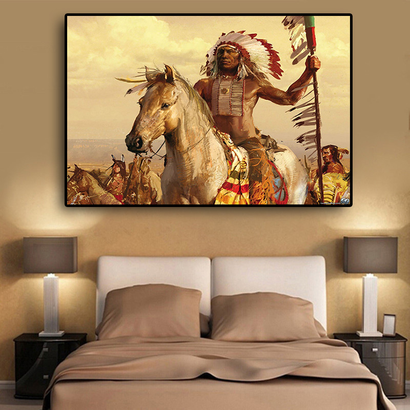 Native Indian Feathered Horse Oil Painting on Canvas Posters and Prints Scandinavian Wall Art Picture for Living Room(China)