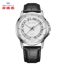 SEA-GULL Business Watches Mens Mechanical Wristwatches 50m Waterproof Leather Valentine Male 819.12.6067K