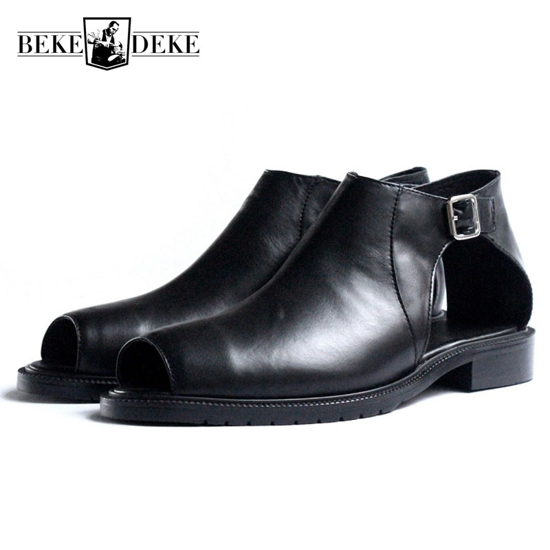 Fashion High Top Hollow Out Buckle Mens Sandals Summer Luxury Walking Breathable Male Shoes Plus Size Gladiator Slides Flip Flop