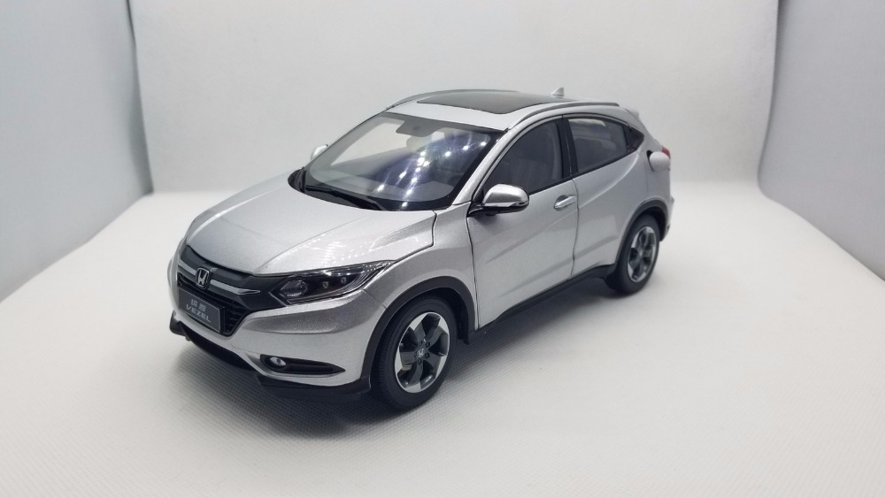 1:18 Diecast Model for Honda Vezel HR-V 2014 Silver SUV Rare Alloy Toy Car Miniature Collection Gifts HRV HR V 1 18 vw volkswagen teramont suv diecast metal suv car model toy gift hobby collection silver