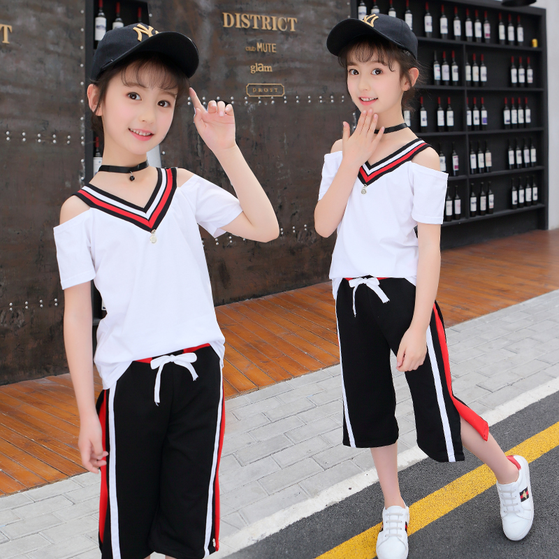 Children Clothing New Cotton Kids Girls Set Summer V-neck Blouses Sleeve+Seven Points Wide Leg Pants Sports Two-piece 4-12Y