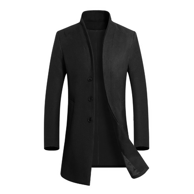 2019 Autumn Winter Male Brand Fashion Boutique Man Overcoat Long Sleeve Woolen Jackets Senior Leisure Business Men Loose Coat(China)