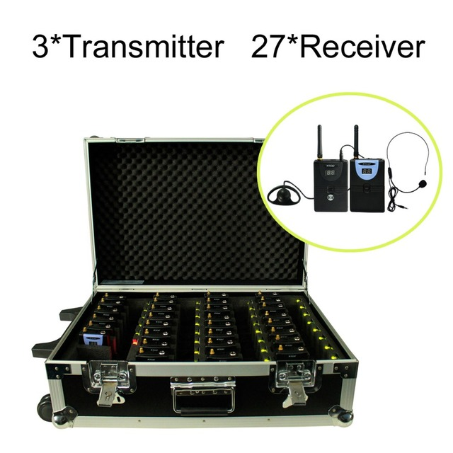 Portable Charging Case for 2.4GHz Wireless Tour Guide System with 3 transmitters and 27 receivers (3 Transmitter, 27 Receivers)