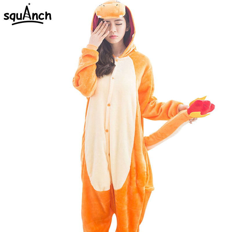 Anime Charizard Kigurumis Onesie Adult Women Men Pajamas Cartoon Animal Charmander Dragon Costume Party Winter Warm Pyjama