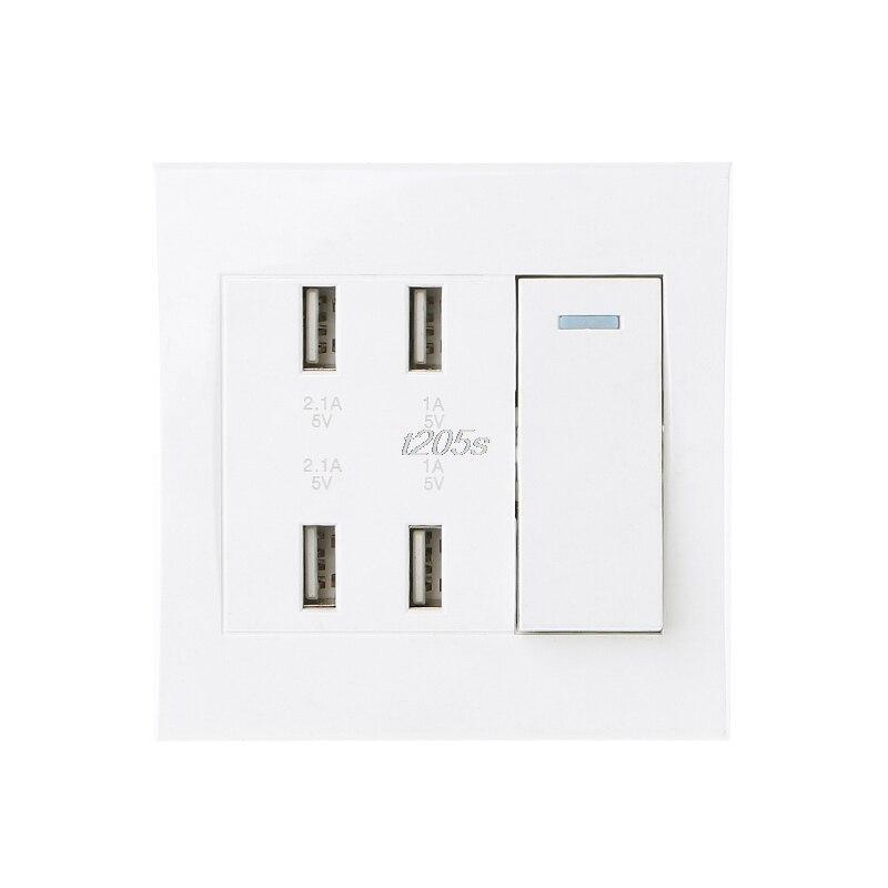 220 v 10A Wand Schalter Buchse 4 Port USB Ladegerät Power Outlet Adapter Panel Q16 Dropship