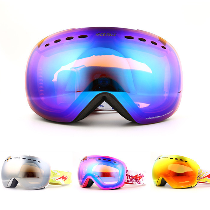 Large Mirror High quality Men Women Genuine double anti fog skiing glasses UV graced spherical font