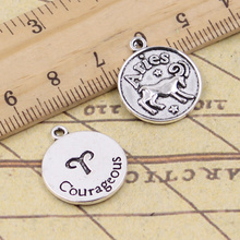 8pcs/lot Charms Zodiac Aries Courageous 20x17mm Antique Silver Color Pendants Making DIY Handmade Tibetan Finding Jewelry