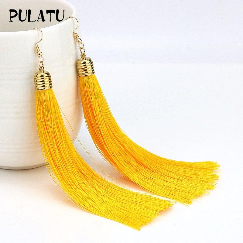 PULATU 2017 Hot Sale Bohemia Tassel Drop Earring For Women Minimalist Dangle Hook Long Earrings Statement Jewelry Wholesale 560