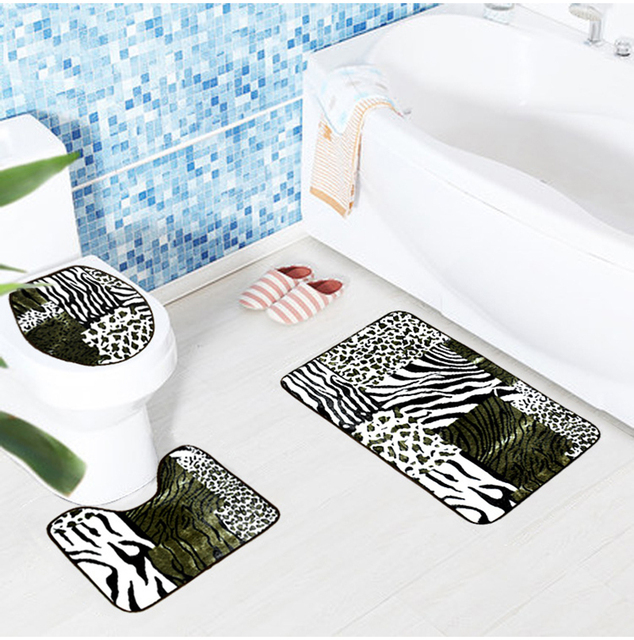 New 3pcs/set Leopard Tiger Leather Toilet Bathroom For Home Tapetes ...