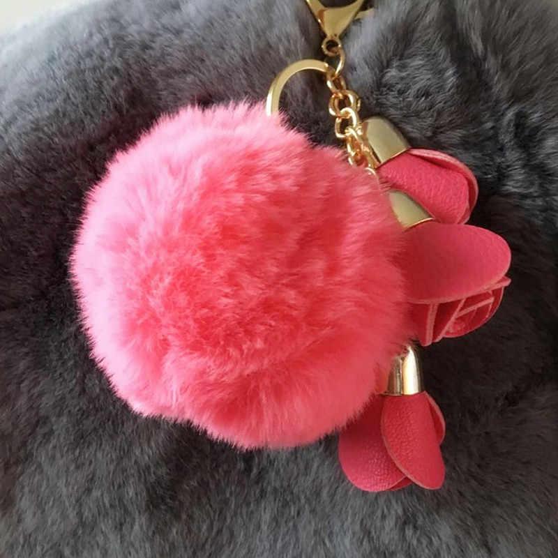 ดอกไม้ขนพู่พวงกุญแจPom PomหนังขนพวงกุญแจPomponประตูโน๊ตสำหรับเสน่ห์กระเป๋าพวงกุญแจLlaveros Sleutel Hanger