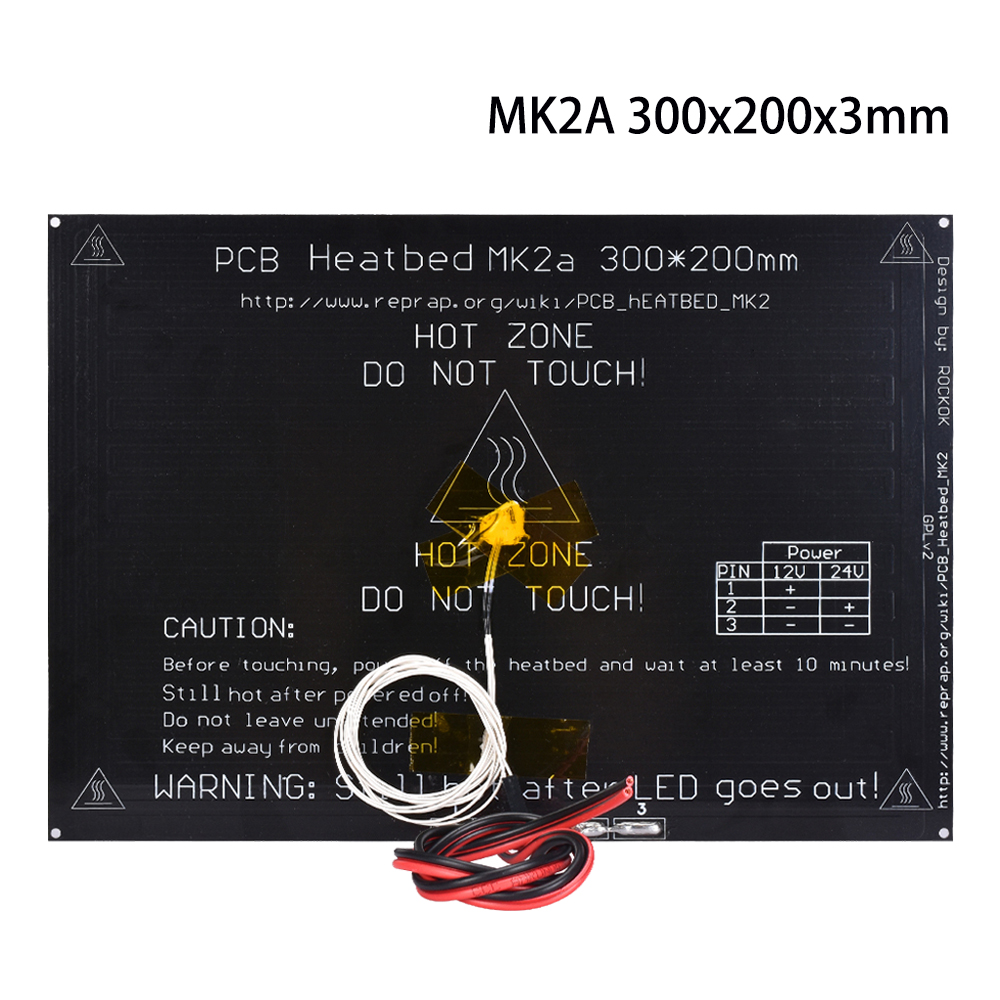 3D Printer parts MK2A <font><b>Heatbed</b></font> <font><b>300*200</b></font>*3.0mm Aluminum with 100K ohm NTC 3950 Thermistors RepRap RAMPS 1.4 MK2B PCB Htbed image