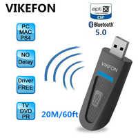 Transmisor Bluetooth 5,0 de baja latencia aptX para TV sin controlador inalámbrico USB/Auxiliar de 3,5mm/ 2 adaptador de Audio RCA para PC PS4