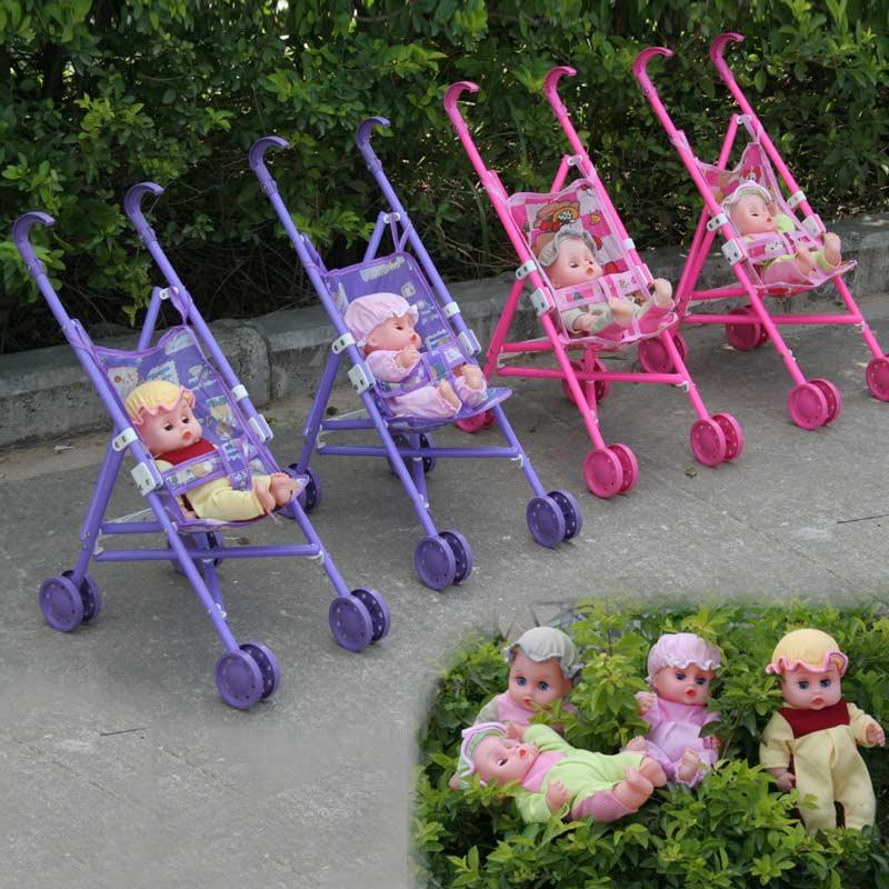 Poussette En Plastique Enfants Landau Poussette Jouet Jouer Ensemble pour Jardin Extérieur Supermart Sûr Bébé Poupées Voitures FJ88