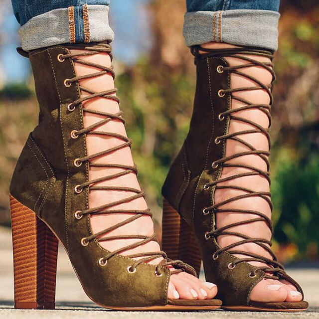 new year designer army green suede lace up high heel boots thick square heel open toe lace up strappy ankle motorcycle boots