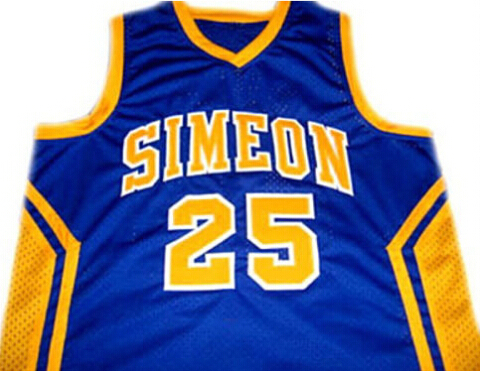ed0fee67199 Derrick rose #25 simeon high school basketball jersey blue ,Yellow,  Embroidery name and number, Rev30 or Mesh basketball jerseys-in Basketball  Jerseys from ...