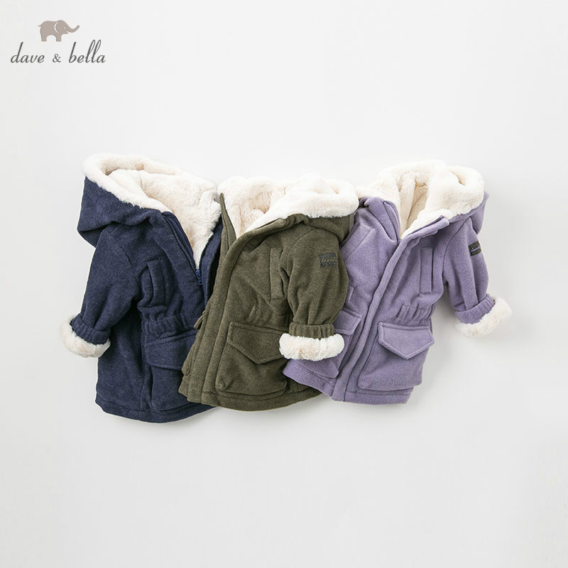 DB8894 Dave Bella Autumn Winter Baby Hooded Coat Infant Jacket Children High Quality Coat Kids Outerwear
