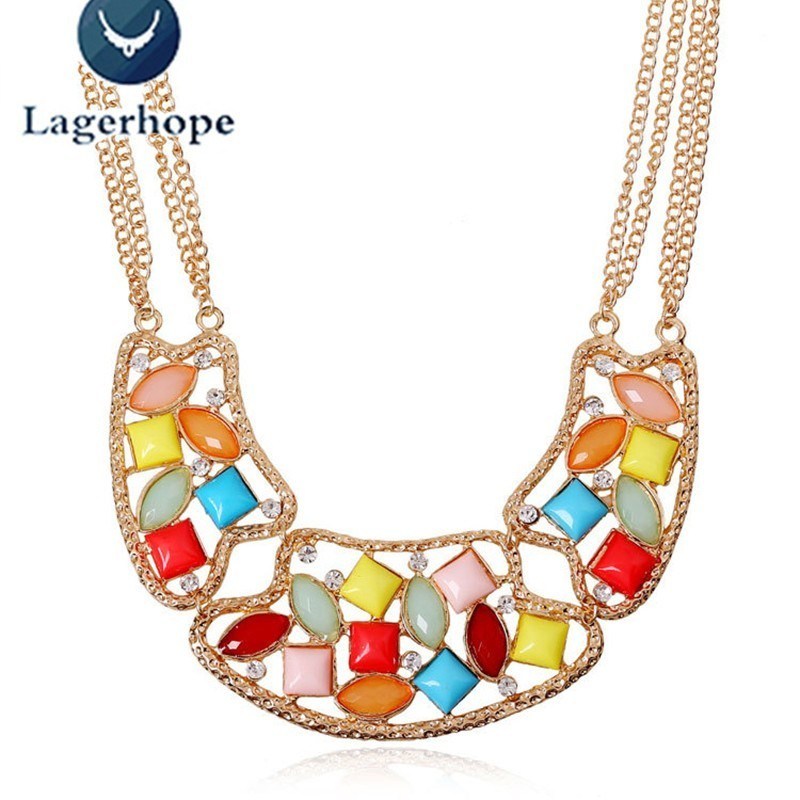 LAGERHOPE New Pattern Necklace For Women Fashion Exaggeration Temperament Candy Color Resin Necklace Shopping Dinner Jewelry