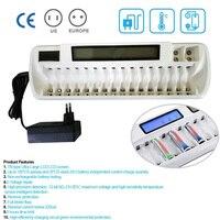 Предложения ЖК дисплей и светодиодный индикатор Перезаряжаемые 16 слотов Smart Батарея Зарядное устройство для Ni MH Ni Cd AA AAA Bay банк белый + 9 В лит