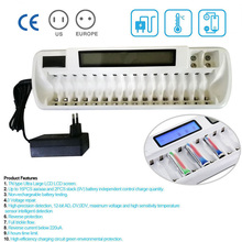 цена на Rechargeable 16 slots LCD Smart Battery Charger For Ni-MH Ni-Cd AA AAA Bay Bank White/Black Color