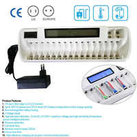 Offres LCD & LED Indication Rechargeable 16 fentes chargeur de batterie intelligent pour Ni MH ni cd AA AAA Bay Bank blanc + 9 V chargeur Li ion