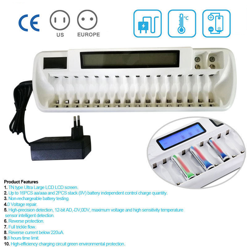 With LCD&LED Indication Rechargeable 16 slots LCD Smart Battery Charger For Ni-MH Ni-Cd AA AAA Bay Bank White+ 9V Li-ion Charger liitokala 2pcs li ion 18650 3 7v 2600mah batteries rechargeable battery with portable battery box and 2 slots usb smart charger