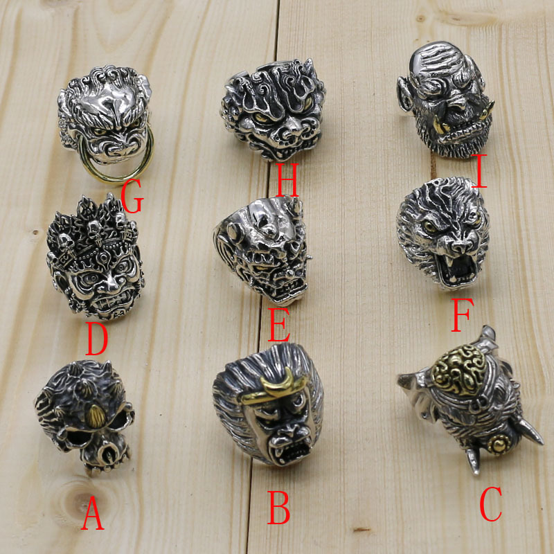 Buddha Head Sterling Silver Exaggerated Ring Open Ended Retro Thai Silver Male Animal Head Gothic Style Crafts Accessories gothic style wolf head design aic alloy brooch silver
